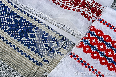 Materials and embroidered Romanian traditional