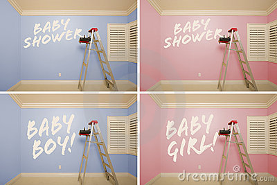 Maternity Series of Pink And Blue Empty Rooms