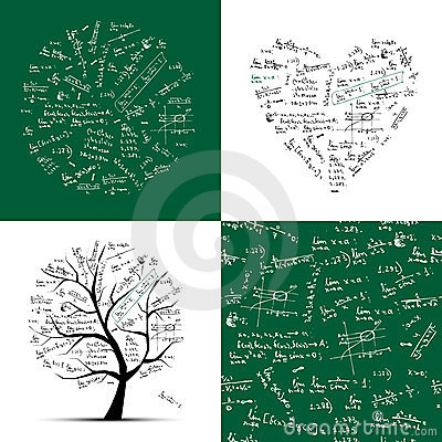 Math collection frame, tree, seamless background