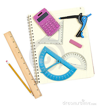 Math Instruments And Spiral Notepad Stock Photography