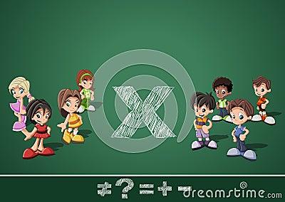 Math symbols and kids