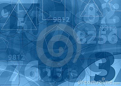 Mathematical  numbers blue background
