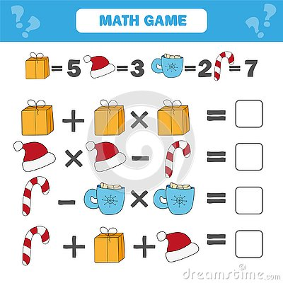 Mathematics educational game for children. Counting equations worksheet Vector Illustration