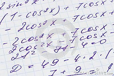Mathematics formula on paper