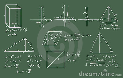 Mathematics and geometry  vector on green