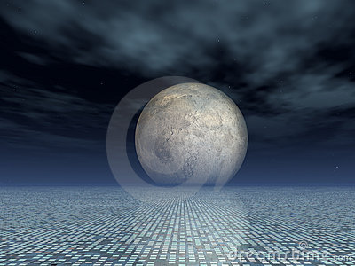 Matrix Grid Background with Full Moon