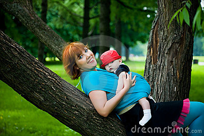 Matriz bonita com filho pequeno