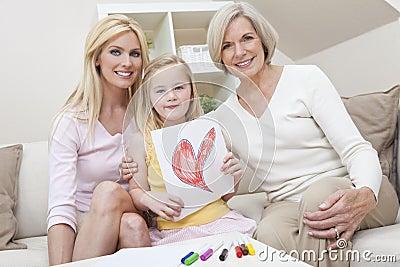 Matriz, filha, gerações da avó em casa