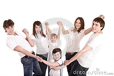 Matriz, pai, filha e filho felizes da família.