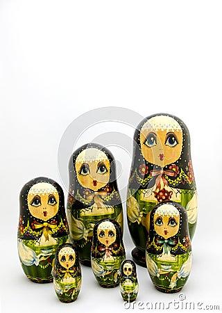 Matryoshka aninhou bonecas do russo