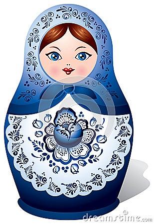 Matryoshka doll with Gzhel ornament
