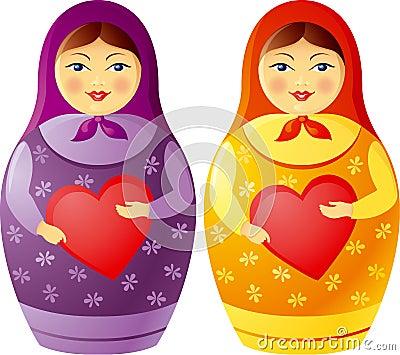 Matryoshka doll holding a heart