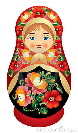 Matryoshka doll with Russia flower o