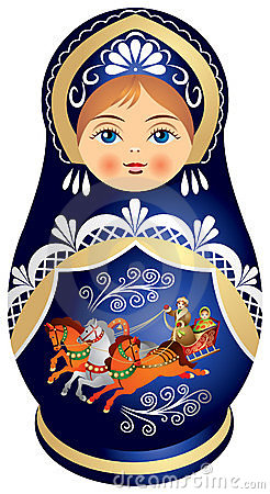 Matryoshka doll with Russian Troika