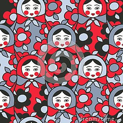 Free Matryoshka Dolls - Seamless Pattern Of Russian Ne Royalty Free Stock Photos - 13134608