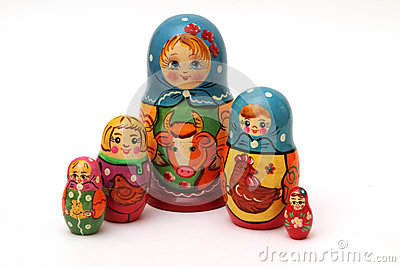 Matryoshka dolls  on white background
