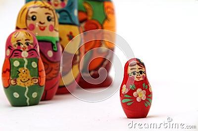 Matryoshka dolls  on white background