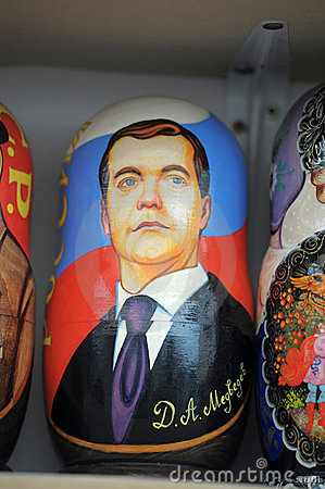 Matryoshka with a portrait of Russian President Editorial Image