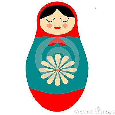 ... doll folk aft retro clip art illustration with flower in red and blue