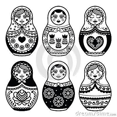 Free Matryoshka, Russian Doll Icons Set Royalty Free Stock Photos - 56300048