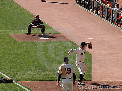 Matt Cain steps forward to throw pitch Editorial Image