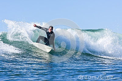 Matt Zehnder surfing in Santa Cruz, California Editorial Stock Photo