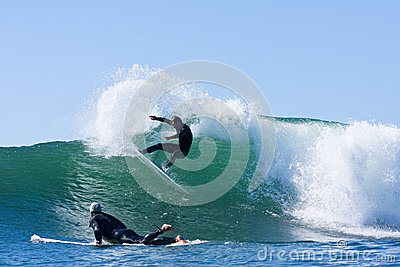 Matt Zehnder surfing in Santa Cruz, California Editorial Image