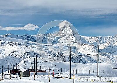 Matterhorn and the Gornergratbahn Editorial Photo