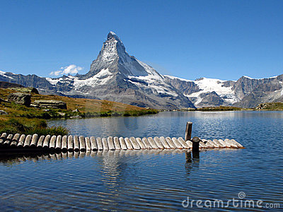 Matterhorn reflecting in Stellisee 04, Switzerland