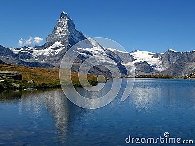 Matterhorn reflecting in Stellisee 06, Switzerland