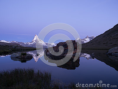 Matterhorn Reflection In Stellisee At Sunrise