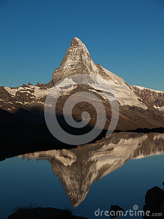 Matterhorn Reflection In Stellisee During Sunrise