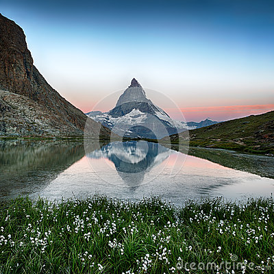 Free Matterhorn Reflection In Riffelsee With Flowers, Zermatt, Alps, Stock Images - 35093244