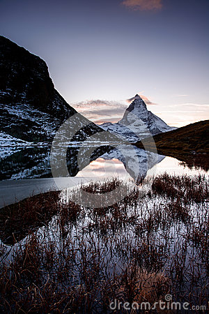 Matterhorn from Riffelsee mountain lake