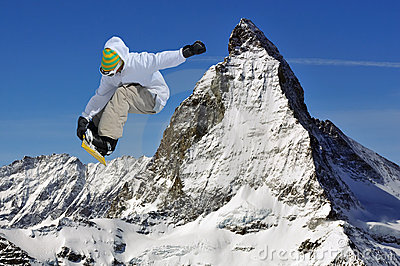 Matterhorn and snowboarder