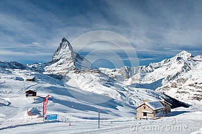 Matterhorn and swiss Alps in winter Editorial Stock Image