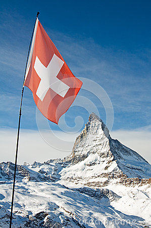 Matterhorn with the Swiss flag