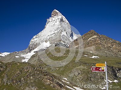 Matterhorn and Swiss Mobility sign post