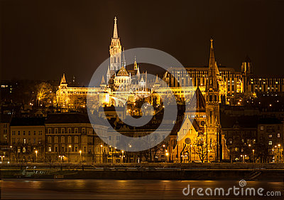 Matthias Church and Protestant church in Budapest