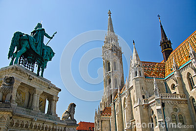 Matthias church, St. Stephen I monument, Budapest