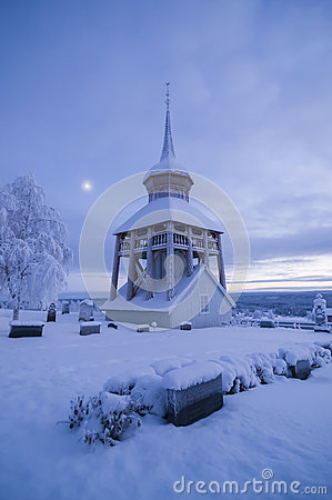 Free Mattmar Church Belltower Vinter Evening Stock Photography - 60547462