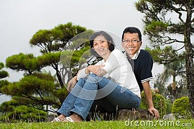Mature Asian spouse couple