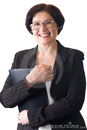 Mature attractive smiling secretary or businesswoman isolated