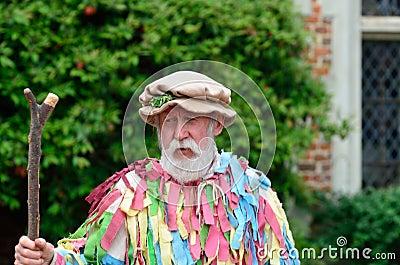 Mature bearded man presenting May Day reenactment