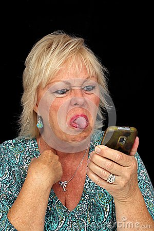 Mature Blonde Woman with Cell Phone (9)