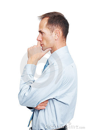 Mature business executive lost in deep thought