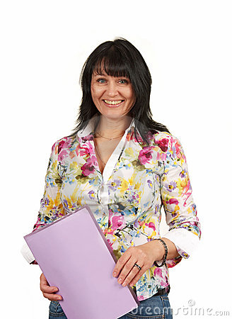 Mature business lady with a folder