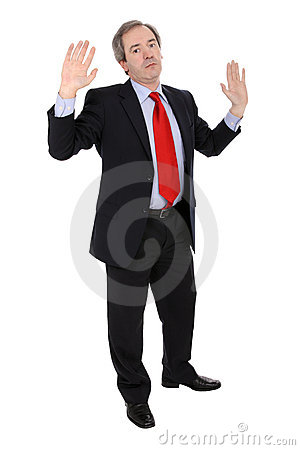 Mature business man gesturing