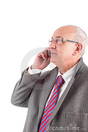 Mature business man at phone