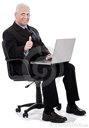 Mature business man shows thumbs up